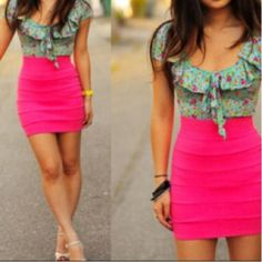 Neon pink bandage skirt would go great with the nude laced up pumps on my Shoe Obsession board. #outfit