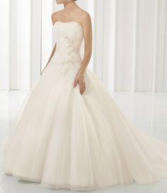 Ivory Strapless Tube Top Organza Princess Wedding Dress