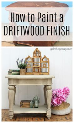Learn how to paint a driftwood finish with Chalk Paint on a wooden table. Painted furniture ideas by Girl in the Garage Annie Sloan Chalk Paint Projects, Chalk Paint Finishes, Diy Furniture Projects, Paint Furniture, Refinished Furniture, Diy Projects, Whitewash Wood, Weathered Wood, Furniture Painting Techniques