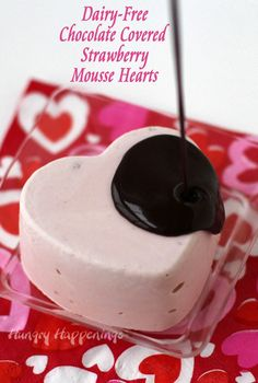 Dairy-Free Chocolate Covered Strawberry Mousse Hearts are sweet low calorie treats for Valentine's Day. Recipe from HungryHappenings.com