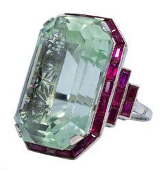 Art Deco Aquamarine and Ruby Ring - Platinum; emerald-cut aquamarine, prong set, measuring x x mm, carats; Bijoux Art Deco, Art Deco Jewelry, Fine Jewelry, Jewelry Design, Jewelry Rings, Aquamarine Rings, Opal Rings, Antique Jewelry, Vintage Jewelry