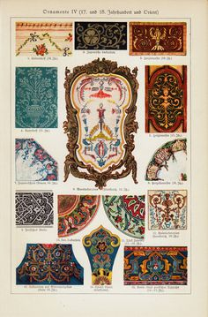 1923 Antique pattern print. Ornaments 17th and by ModernAntiquary
