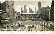 Bryant Park, seen from the elevated Sixth Avenue train facing east, 1936. Postcard: BPC