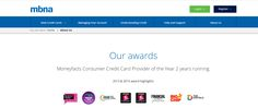 Two #CMFAwards winning logos featured on the MBNA website http://www.mbna.co.uk/about-us/