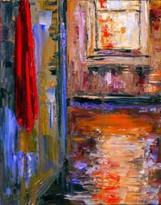 "Contemporary Artists of Texas: Original Cityscape Impressionism Painting ""Red Towel"" by Texas Artist Debra Hurd"