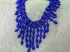 Free pattern for beautiful beaded necklace Blue Drops | Beads Magic--seed beads 10/0-11/0  beads 5-6 mm
