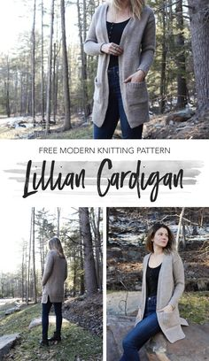 Lillian Cardigan pattern by Two of Wands - Free Ladies Cardigan Knitting Patterns, Knit Cardigan Pattern, Knitting Patterns Free, Free Knitting, Crochet Patterns, Sweater Patterns, Vogue Knitting, Shawl Patterns, Knitting Machine