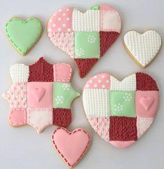 patchwork Valentine's cookies