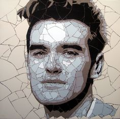 Morrisey mosaic by Ed Chapman Marble Mosaic, Mosaic Art, Mosaic Glass, Mosaic Tiles, Stained Glass, Garden Tiles, Mosaic Portrait, Charming Man, Celebrity Portraits