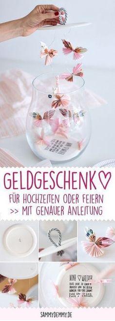 Geldgeschenk, Verpackungsidee, kreativ, Geldscheine falten, Schmetterling, Hochzeitsgeschenk, Gastgeschenk, Geschenkidee, Mitbringsel, Idee für Hochzeit,