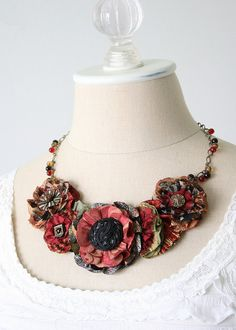Black and Red Statement Necklace by rosyposydesigns
