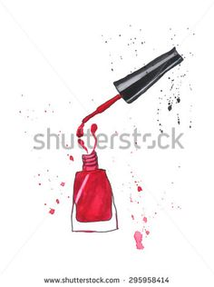 Red nail polish.Watercolor. Vector. - stock vector