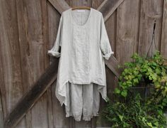 linen contemporary Ethnic tunic in natural stripe ready to ship