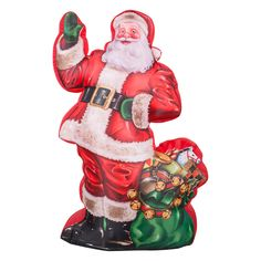 Gemmy Airblown Photorealistic Illustrated Santa with Gift Bag Inflatable - G08 37073X