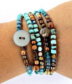 "Crochet wrap bracelet, boho necklace, beaded, ""earth wave"", turquoise, bohemian jewelry, crochet jewelry, semi precious, fall fashion"