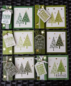 Barbaras Kreativ-Studio, Festival of Trees card set in shades of green, Christmas cards