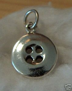 Sterling Silver 3D Solid Realistic Button Sewing Charm | eBay