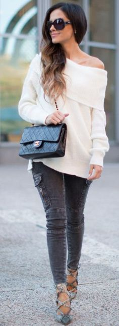 Mia Mia Mine Dark Gray Cargo Pants White Off Shoulder Sweater Fall Street Style Inspo