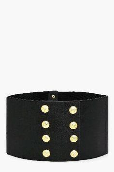 #boohoo Military Button Waist Belt - black DZZ48146 #Abigail Military Button Waist Belt - black