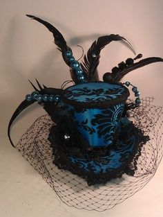 Blue and Black Velvet Mini Top Hat Burlesque Mini Top Hat -- what a cool  craft idea for decorating a Johnny-Depp-style