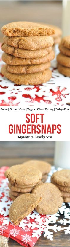 These Paleo gingersnaps are so soft, which is very unusual for Paleo Christmas cookies. Plus, they only have 6 ingredients! Bonus - they are Gluten-Free, Clean Eating, Dairy-Free and Vegan too!