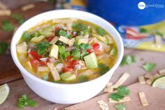 A Bowlful Of Love! Cafe Rio-Inspired Chicken Tortilla Soup with guac and cilantro.  Don't forget to make the tortilla strips.  Icing on the cake!