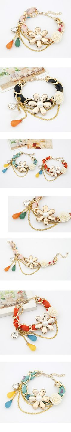 Funeral Yellow Two Flower Alloy Korean Fashion Bracelet,Korean Fashion Bracelet Japanese Fashion, Korean Fashion, Fashion Bracelets, Fashion Jewelry, Bangles, Beaded Bracelets, Necklaces, Korean Jewelry, Simple Jewelry