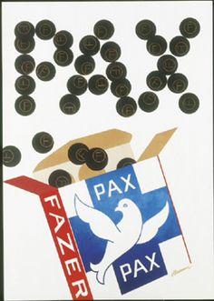 Pax, Fazer. Erik Bruunin suunnittelema juliste, 1950-luku Vintage Packaging, Vintage Labels, Vintage Ads, Vintage Posters, Packaging Design, Retro Candy, Good Old Times, Poster Ads, The Old Days