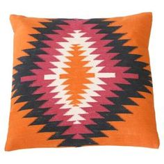 Hand-woven cotton pillow cover with a multicolored kilim-inspired motif.