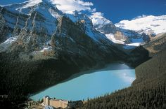Beautiful aerial shot of Lake Louise and the Chateau Fairmont in Banff, Canmore, Alberta #Canmore