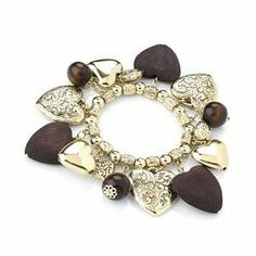 Heart & Bead Gold Tone Stretch Bracelet - up to 18cm Length Avalaya. $17.46. Type: stretchy. Occasion: anniversary, casual wear, cocktail party. Theme: heart. Material: wood. Metal Finish: gold plated