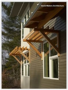 These 'sun shades' seem really cool and efficient. I can see these stained, painted to match the exterior trim and have all kinds of curly cue greenery or vines trailing all through it. Contemporary exterior by David Matero Architecture Exterior Trim, Exterior Colors, Exterior Paint, Exterior Design, Rustic Exterior, Modern Exterior, Contemporary Decor, Contemporary Architecture, Contemporary Cottage
