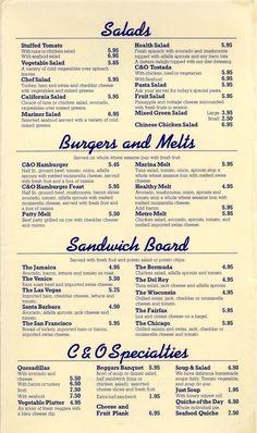 Cheese & Olive Cafe menu, Venice, CA, 1984.