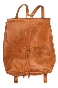 Yami Backpack in brown leather. Made from locally-sourced leather by women artisans in Ethiopia.