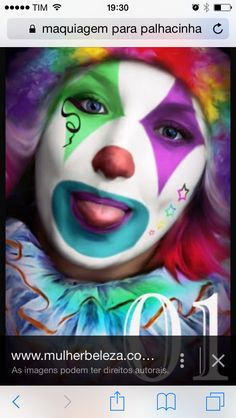 Kids Makeup, Clown Makeup, Fx Makeup, Costume Makeup, Halloween Makeup, Halloween Costumes, Halloween Circus, Circus Costume, Clown Face Paint