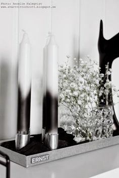 diy svart och vitt, spraya på stearinljus för att få dip and dye känsla, brudslöja i vas, svart hand, ernst ljusstake, ljusstakar, arnts kirchsteiger, svartvitt, svarta och vita, svart, vitt, vita, detaljer, inredningblogg, blogg