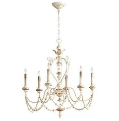 Florent White Washed French Country Beaded Swag 6 Light Chandelier