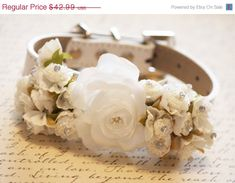 White Ivory Wedding Dog Collars with white flowers  by LADogStore, $34.39