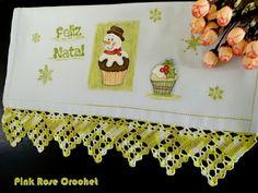 \ PINK ROSE CROCHET /: Pano de Prato com Barra de Crochê e Pintura Cupcak...
