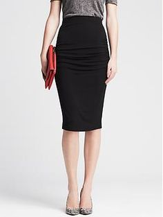 Ruched Black Jersey Pencil Skirt. LOVE LOVE LOVE THIS! And it would go with anything.