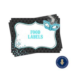 Hey, I found this really awesome Etsy listing at https://www.etsy.com/listing/475978242/masquerade-aquateal-food-label-tent