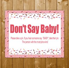 Don't Say Baby Game, Baby Sprinkle Game, Pink Sprinkle Game for a Girl, Sprinkle Printables, Instant Download