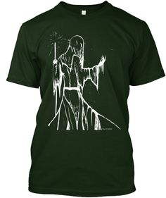 Stars Like Sand Through Fingers http://teespring.com/stars-like-sand-deep-green  This original artwork by Roger E. Anderson features a ghostly, hooded and robed figure carrying a staff in his left hand and allowing grains of sand to slip through the fingers of his right hand.  The title suggests this figure is large enough to grasp entire star systems like a handful of sand and then letting them slip away into the heavens.