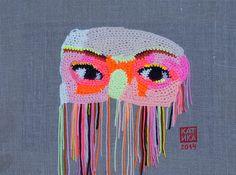 Moscow's east 30 x 40 Yarn canvas acrylic by KatikaCrochetArt