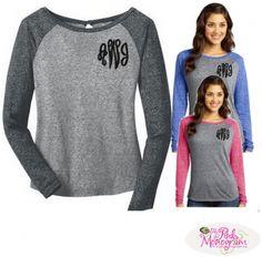 Monogrammed Raglan Burnout Long Sleeve Tee  Apparel & Accessories > Clothing > Shirts & Tops > T Shirts