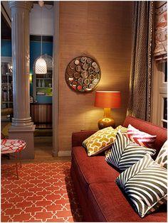 Love the colours and elitis(? Orange Sofa, Lounge, Argo, Couch, Colours, Wallpaper, Interior, Furniture, Home Decor
