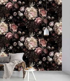 Dark Floral is based on the still life paintings characteristic of the Dutch Golden Age. However, this design is anything but 17th century. Modern, majestic, ethereal blooms cascade down a dark, dramatic, shadowy background.