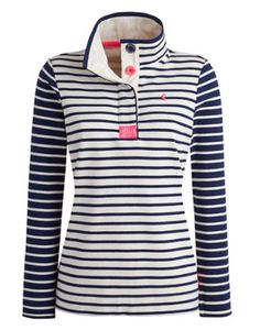Joules Women's Classic Sweatshirt, Cream Navy Stripe.                     To the delight of wardrobes up and down the country, the Cowdray returns, this time in new feminine colours. A sweatshirt that was truly designed with the weekend in mind. The stand collar, fresh stripes and loopback cotton all combine perfectly to make sure this favourite remains so.