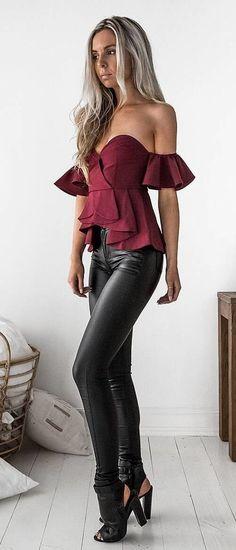 #summer #outfits  Off The Shoulder Top + Black Leather Skinny Pants + Black Pumps