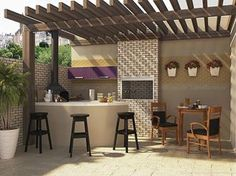 A great patio decor colorful and efficient. Outdoor Kitchen Design, Patio Design, Exterior Design, Interior And Exterior, House Design, Outdoor Rooms, Outdoor Living, Outdoor Decor, Outside Living